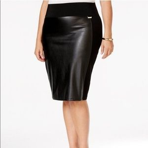 Calvin Klein Faux Leather Pencil Skirt stretch